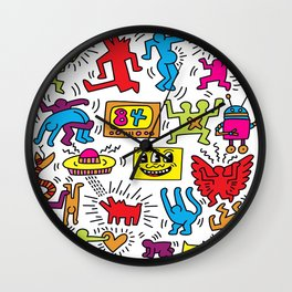 Sketches homage to Keith Haring Wall Clock