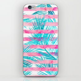 Modern pink turquoise tropical palm tree watercolor stripes pattern iPhone Skin