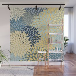 Floral Print, Yellow, Gray, Blue, Teal Wall Mural