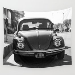 Hermosa Beach Surf Bug, Black and White Photography Print, Beach Art, South Bay Los Angeles Art Wall Tapestry