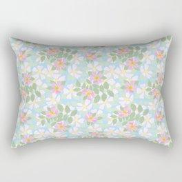 Pink Dogroses on Sky Blue Rectangular Pillow