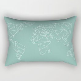 geometrical world map mint Rectangular Pillow