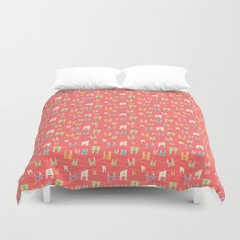 Colorful bunnies on salmon/pink Duvet Cover