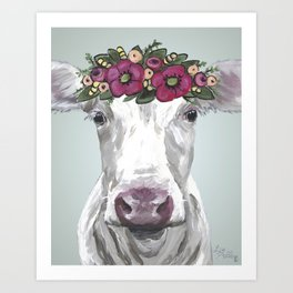Flower Crown Cow, Cute Cow Art, Farm Animal Painting Art Print
