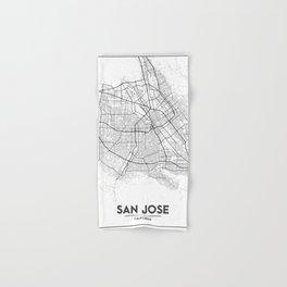 Minimal City Maps - Map Of San Jose, California, United States Hand & Bath Towel