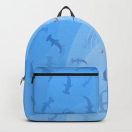 Shark Beach Swimmer | Aerial Illustration Backpack