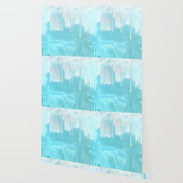 Frozen Sky Glitch - Icy blue & peach #glitchart #decor Wallpaper