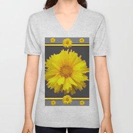 YELLOW & GREY  ART COREOPSIS FLOWERS Unisex V-Neck