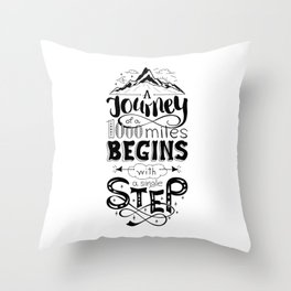 lettring quote journey Throw Pillow