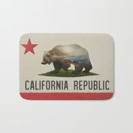 California Grizzly Bear Flag Bath Mat