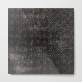 Vintage geometrical black brown polka dots pattern Metal Print