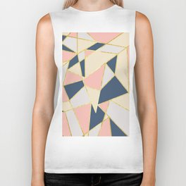 Girly Geometric Triangles with Faux Gold Biker Tank