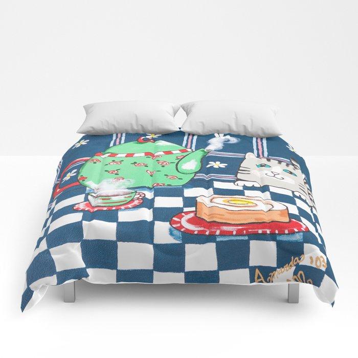 Kitty Cat Tea Time! Comforters