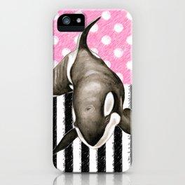 Orca Whale Pink Polka Dot iPhone Case