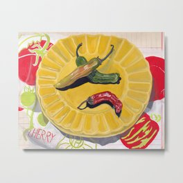 Chilis on a Plate in Gouache Metal Print