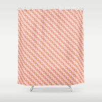 tetris Shower Curtains featuring Tangerine Tetris by Toffee Magazine