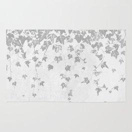 Soft Silver Gray Trailing Ivy Leaf Print Rug