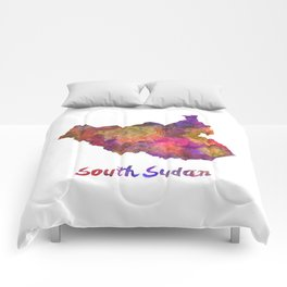 South Sudan in watercolor Comforters