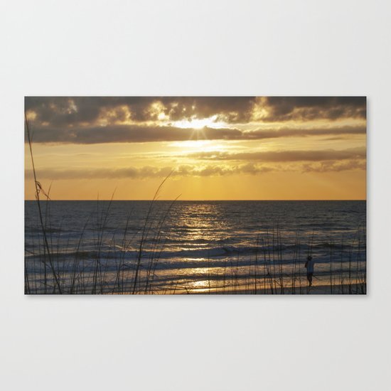 Fishing as the Sun Goes Down Canvas Print