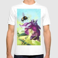 Bee flying 14 MEDIUM White Mens Fitted Tee