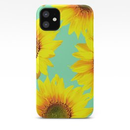Sunflowers on a pastel green backgrond  iPhone Case
