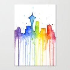 Seattle Skyline Rainbow Watercolor Canvas Print