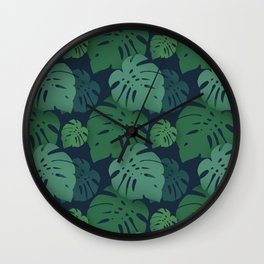 Monstera dark jungle pattern Wall Clock