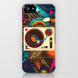 Goodtime Party Music Retro Rainbow Turntable Graphic iPhone Case