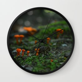 Micro Mushrooms Wall Clock