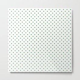 Small Green Polkadot Heart on Snow White Metal Print