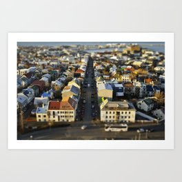 Downtown Reykjavík Tilt-Shift Art Print