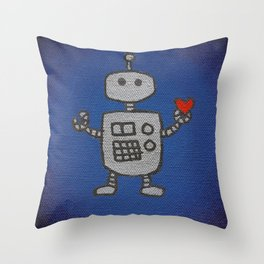 Robot with heart / love / blue / silver / painting Throw Pillow