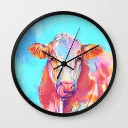 Whimsical Cow - Digital Illustration Farm Animal Wall Clock