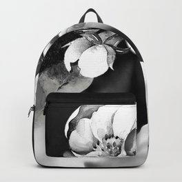 Floral Portrait-black and white Backpack