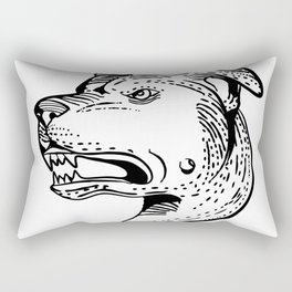 American Staffordshire Bull Terrier Etching Black and White Rectangular Pillow