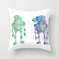 giants Throw Pillows featuring Stone Giants by Emily Joan Campbell