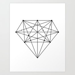 Geometric Diamond black-white poster design lowpoly fashion home decor canvas wall art Art Print