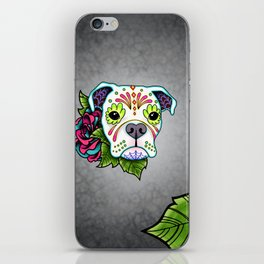 Boxer in White- Day of the Dead Sugar Skull Dog iPhone Skin