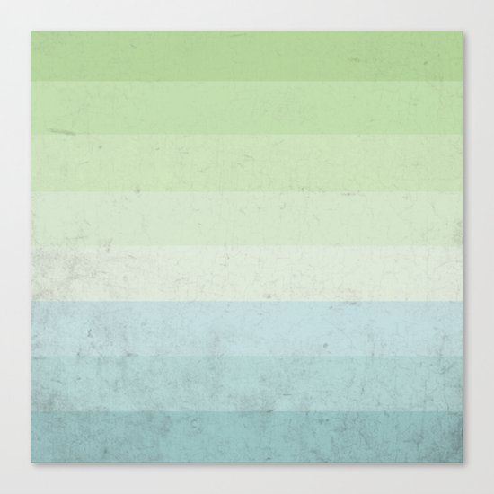Fresh Cyan Lime Stripes Canvas Print