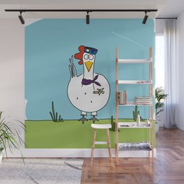 Eglantine la poule (the hen) dressed up as an air hostess Wall Mural