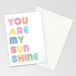 You Are My Sunshine Brightly Colored Kids Room Decor Stationery Cards