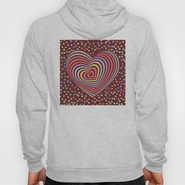 multi-colored rainbow heart on dark brown background. 3D Hoody