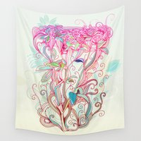 clover Wall Tapestries featuring Floral clover by /CAM