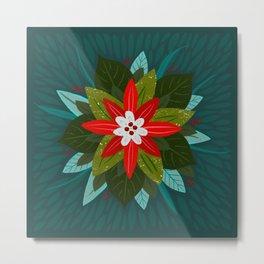 Christmas Poinsettia Metal Print