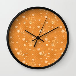 Flowers, Hearts & Donuts Wall Clock