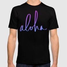 Aloha Hawaii Mens Fitted Tee Black MEDIUM