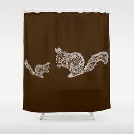 the family squirrel. mother squirrel teaching her youngster to chew the nut Shower Curtain