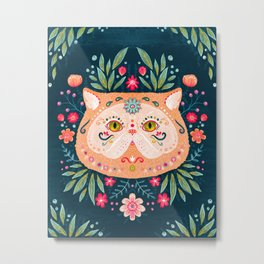 Candied Sugar Skull Kitty Metal Print