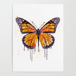 Monarch Butterfly watercolor Poster