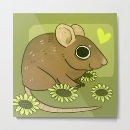 Forest mouse and flowers Metal Print